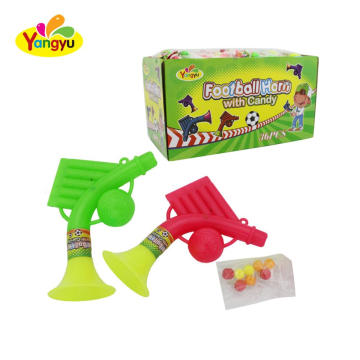 Display box football horn toy with sweet round fruity candy