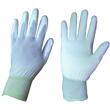 13G Nylon Liner Knit Wrist White PU Coated Glove (5513)