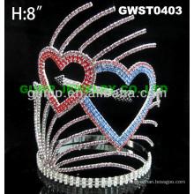 Corazón de San Valentín corona de tiara de diamantes de imitación -GWST0403