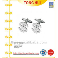 Silver $ Symbol shape metal cufflinks novelty