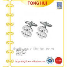 Silver $ Symbol shape metal mancuernos novidade