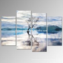Водное озеро Пейзаж Холст Wall Art / абстрактное дерево Отражение Холст Печать / снег Гора Стены Art Framed