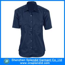 Uniforme feito sob encomenda do trabalho do algodão do logotipo da fábrica da camisa do homem