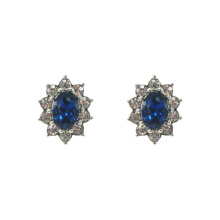 Bule Crystal Royal Princess Stud Earrings