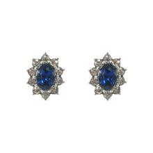 Bule Crystal Royal Princess Stud Earrings