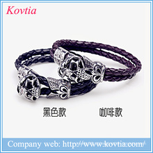Pulseira de couro magnético magnético 316 pulseiras de crânio de aço inoxidável pulseira de aço de titânio pulseira