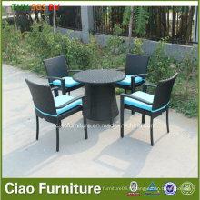 Table et chaise de salle à manger extérieure de rotin d'osier de meubles de jardin de loisirs