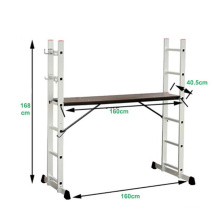Yongkang factory aluminium fold scaffold ladder with plywood platform