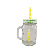 Classic glass mason jar with straw and metal lid for promotional gift