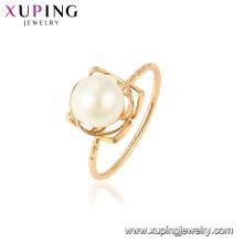 15438 xuping último diseño de oro romántico perla de agua dulce magnífico 18k anillo chapado en oro para el regalo de vacaciones de la boda