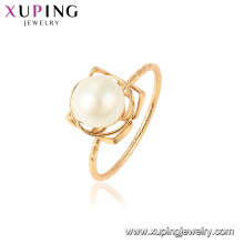 15438 xuping mais recente projeto de ouro romântico pérola de água doce lindo 18 k anel banhado a ouro para festa de casamento presente de feriado
