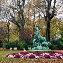 Outdoor Gartendekoration Metall Handwerk Bronze Lebensgröße Messing Hirsch Skulptur