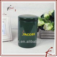Зеленая печать керамическая цветная банка