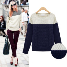 Damenmode Acryl Gestrickte Farbe blockieren Pullover Pullover (YKY2009)