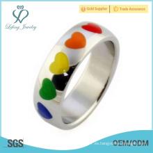 Anillos de bodas de plata lgbt, joyas de compromiso lésbico anillo
