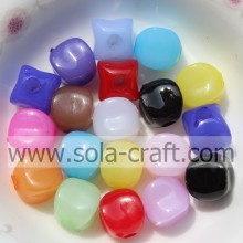 Opaque Acrylic Jelly Square Acrylic Smooth Face Beads