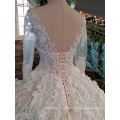 LS00152 long sleeve white v back china custom made wedding dress long trail wedding gown