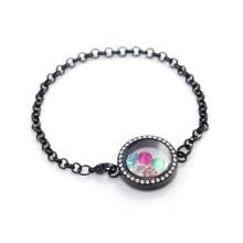 Pulsera de cadena flotante especial de la pulsera del medallón del acero inoxidable de la perla 316l del cristal negro