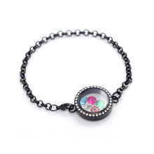 Special black crystal pearl 316l stainless steel floating locket chain bracelet jewelry