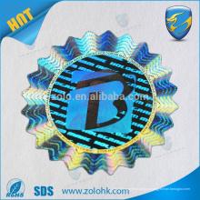 Profesional fabricante antif-fake personalizado plata círculo holograma etiqueta 3d etiqueta