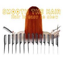 Custom Logo High Quality Black Straight Hair Combs PRO Salon Hairdressing Antistatic Carbon Fiber Comb for Barber Hair Cutting