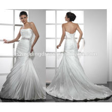 WD0059 с плеча тафты без бретелек ruched лиф с бюстгальтером внутри корсет назад русалка свадебные платья