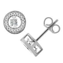 Dancing Diamond 925 Silver Stud Earrings Jóias