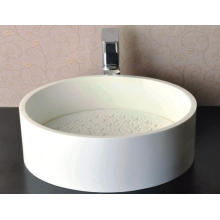 Glossy White Round Marble Basin for Bathroom (BS-8315)