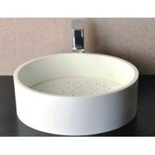 Глянцевый белый круглый мраморный тазик для ванной комнаты (BS-8315)