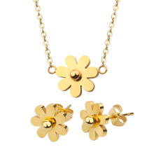 Stainless Steel African Jewelry Set Dubai Flower Pendant Necklace Earrings Jewelry Set