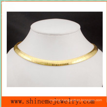 Fashion High Quality Stainless Steel Accessories Flat Plate Flat Snake Chain Necklace (SSNL2629)