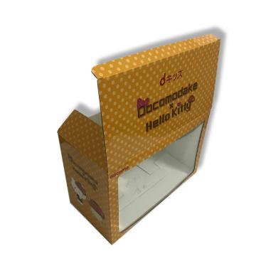 Caixa de papelão ondulada impressa com janela PET / PVC