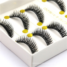 New style hand-made synthetic strip false eyelash with 5 pairs per box