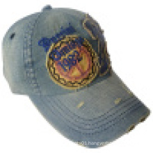 Washed Denim Cap with Applique #08