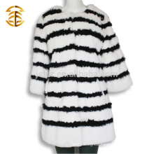 2017 Wholesale Black And White Rabbit Fur Coat For Women