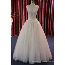Lace Applique Floor Length Ball Bridal Wedding Gown