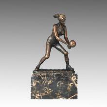 Estatua Deportiva Jugador De Voleibol Escultura De Bronce, Milo TPE-728