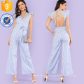 Blue Ruffle Trim Tie Waist Striped Jumpsuit OEM/ODM Manufacture Wholesale Fashion Women Apparel (TA7010J)