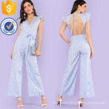 Laço azul da guarnição do plissado da cintura Macacão listrado OEM / ODM fabricação atacado da roupa das mulheres da forma (TA7010J)