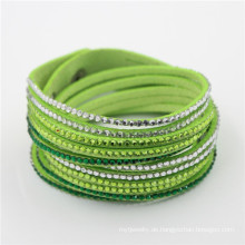 Neues Leder Kristall Multi Layer Wicklung Armband