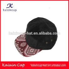 2015 promotional wholesale hot sales black corduroy material crown and red printing brim of 5 panels camper hat with factory
