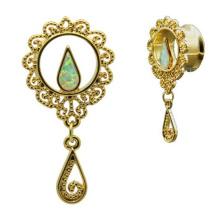 Gold Plated Steel Dangle Fire Opal Ear Gauges Tunnel