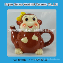 Monkey design ceramic tea kettle