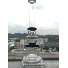 Inline Perc Glass Water Pipe Mix Color White and Black Smoking Pipe Ice Notches 16inch Hbking Glass Pipes Heady Pipes