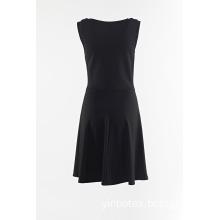 Black sleeveless skirt with eyelet at front