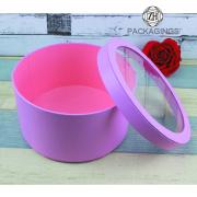 Couvercle et Bas Round Flower Box avec fenêtre en PVC