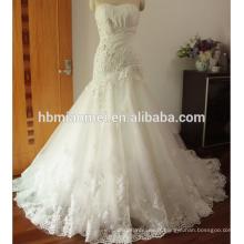 Dentelle Appliques robe de bal robe de mariée étage longueur robe de mariée blush sans manches