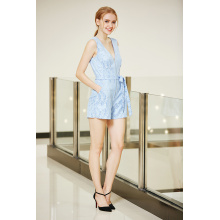 Zip Front Lace Sleeveless Summer Jumpsuit with Tie Front