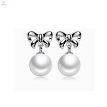 Bonito moda prata esterlina brincos de pérola 925 pérola