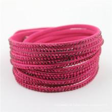 Großhandelsart und weisekristall-kundenspezifische Armband-Lederarmbänder